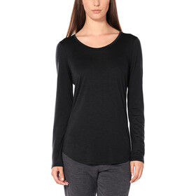 Icebreaker Solace Longsleeve Scoop Shirt Dames, black heather